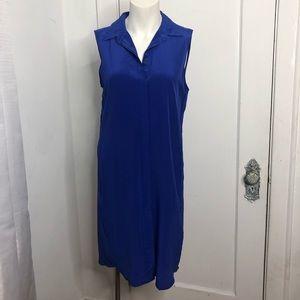 J. Crew Dress Small Blue 100% Silk Button Front
